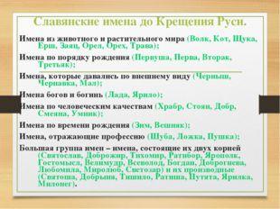 Славянские имена до Крещения Руси. Имена из животного и растительного мира (В