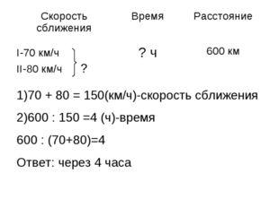 1)70 + 80 = 150(км/ч)-скорость сближения 2)600 : 150 =4 (ч)-время 600 : (70+8