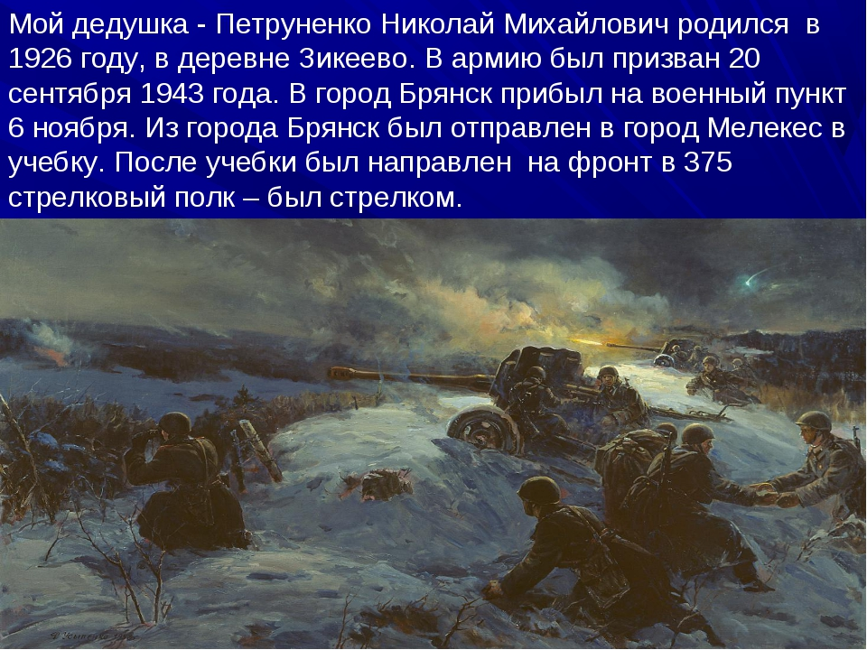 Мой дедушка - Петруненко Николай Михайлович родился в 1926 году, в деревне З...