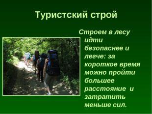 Туристский строй Строем в лесу идти безопаснее и легче: за короткое время мож