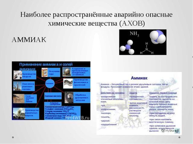 Наиболее распространённые аварийно опасные химические вещества (АХОВ) АММИАК