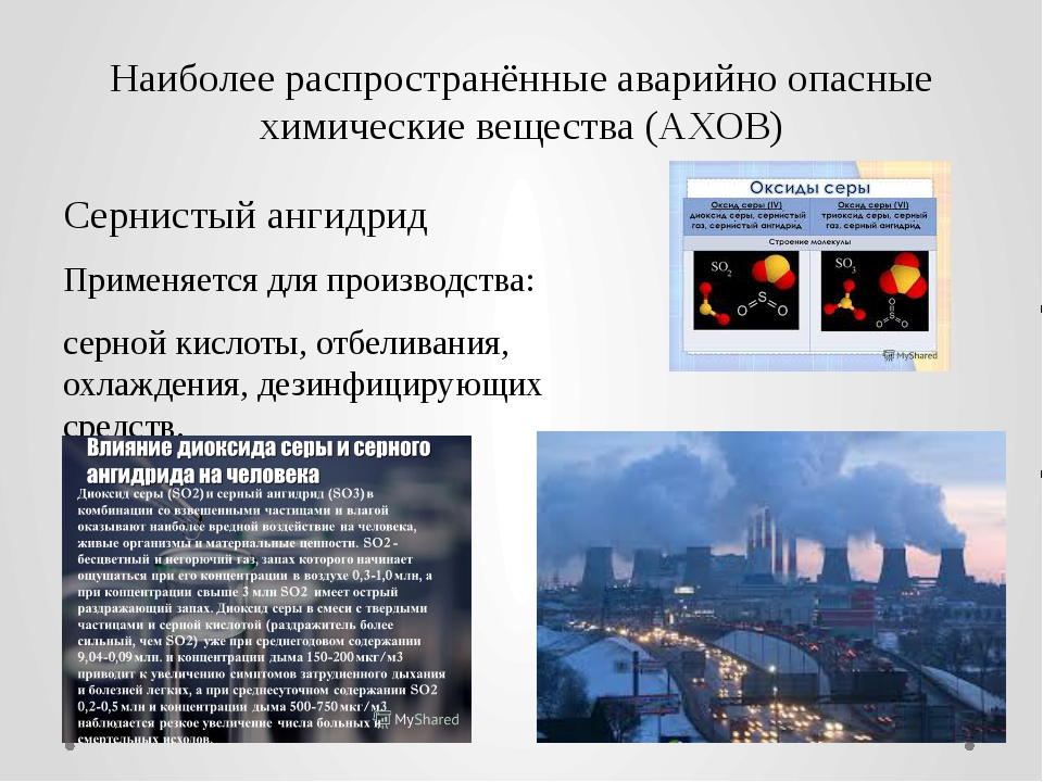 Наиболее распространённые аварийно опасные химические вещества (АХОВ) Сернист...