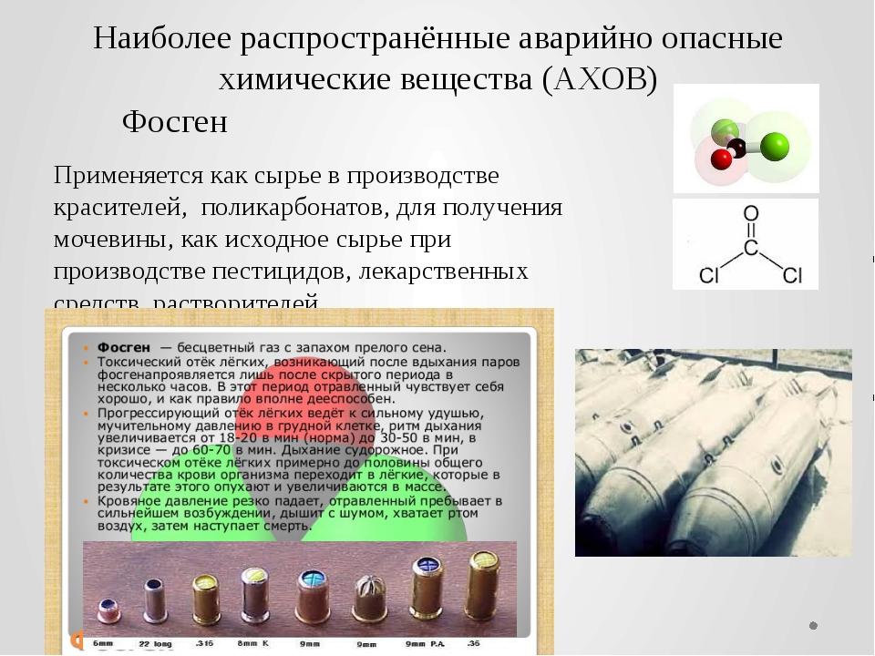 Наиболее распространённые аварийно опасные химические вещества (АХОВ) Фосген...