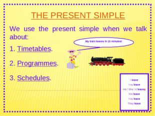 THE PRESENT SIMPLE We use the present simple when we talk about: 2. Programme