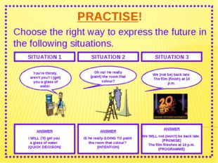 PRACTISE! Choose the right way to express the future in the following situati