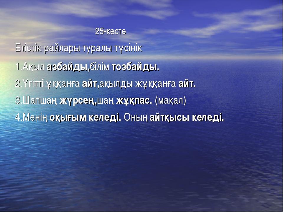 25-кесте Етістік райлары туралы түсінік 1.Ақыл азбайды,білім тозбайды. 2.Үгі...