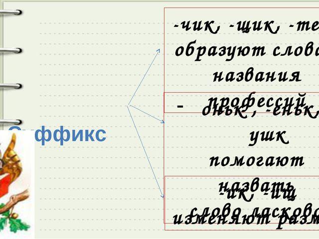 Суффиксы -чик, -щик, -тель образуют слова - названия профессий оньк , -еньк,...