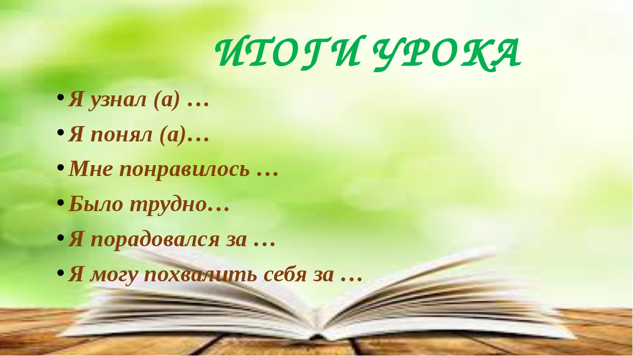 ИТОГИ УРОКА Я узнал (а) … Я понял (а)… Мне понравилось … Было трудно… Я порад...