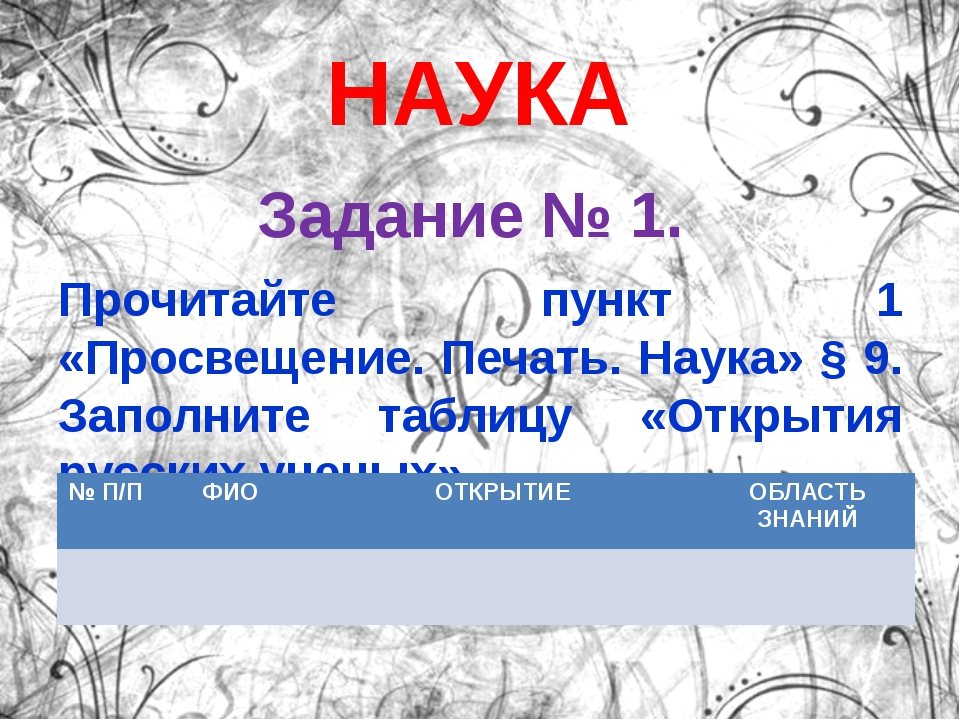 НАУКА Задание № 1. Прочитайте пункт 1 «Просвещение. Печать. Наука» § 9. Запол...