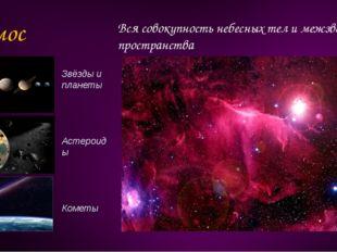 Космос Вся совокупность небесных тел и межзвёздного пространства Звёзды и пла