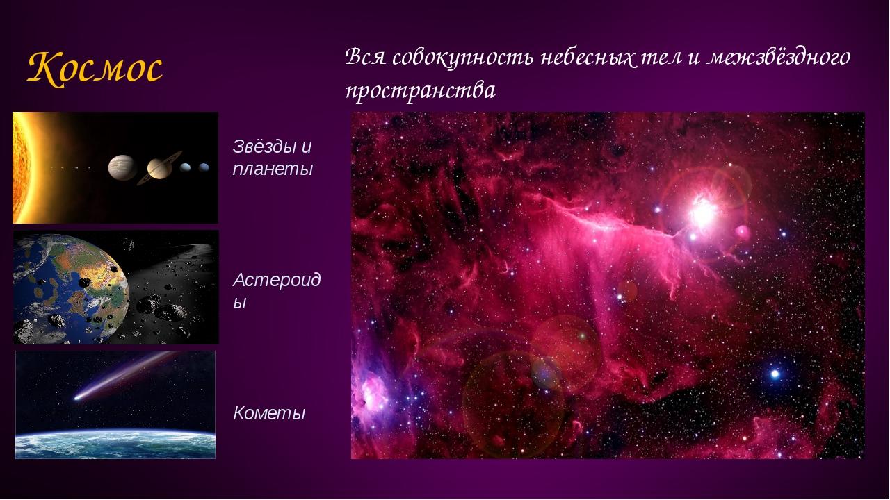 Космос Вся совокупность небесных тел и межзвёздного пространства Звёзды и пла...