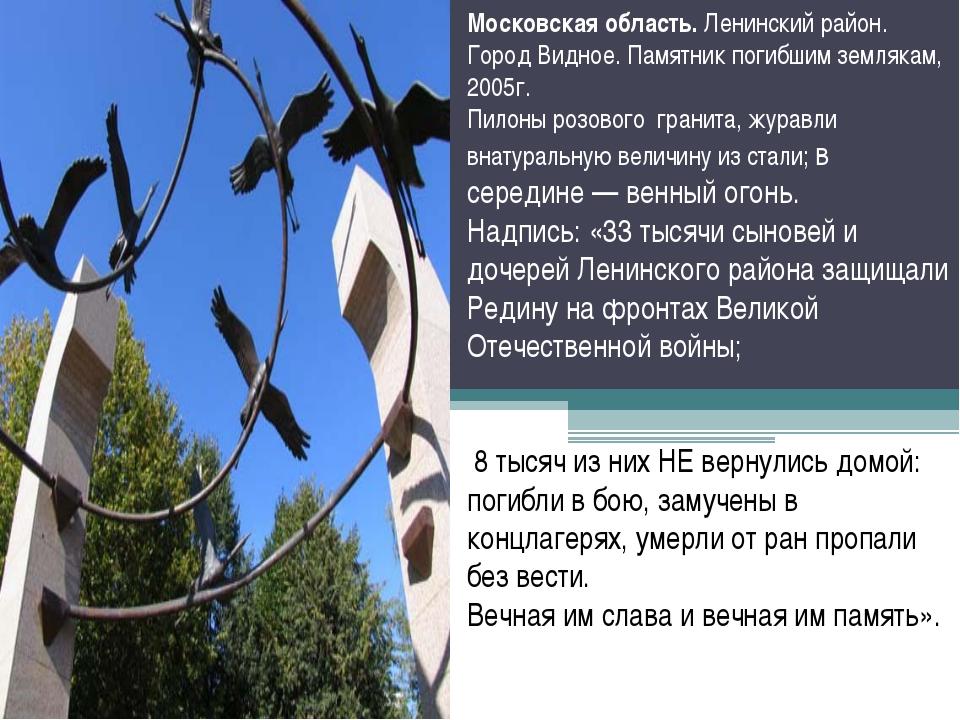 Московская область. Ленинский район. Город Видное. Памятник погибшим землякам...