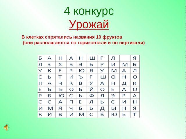 4 конкурс Урожай В клетках спрятались названия 10 фруктов (они располагаются...
