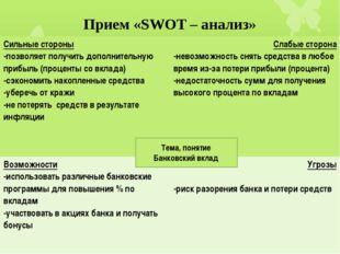 Прием «SWOT – анализ» Тема, понятие Банковский вклад Сильные стороны -позволя
