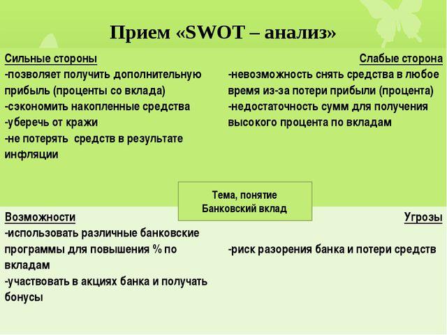 Прием «SWOT – анализ» Тема, понятие Банковский вклад Сильные стороны -позволя...