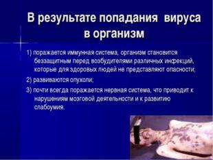 В результате попадания вируса в организм 1) поражается иммунная система, орга
