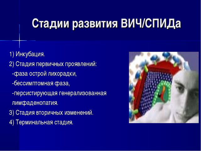 Стадии развития ВИЧ/СПИДа 1) Инкубация. 2) Стадия первичных проявлений: -фаза...