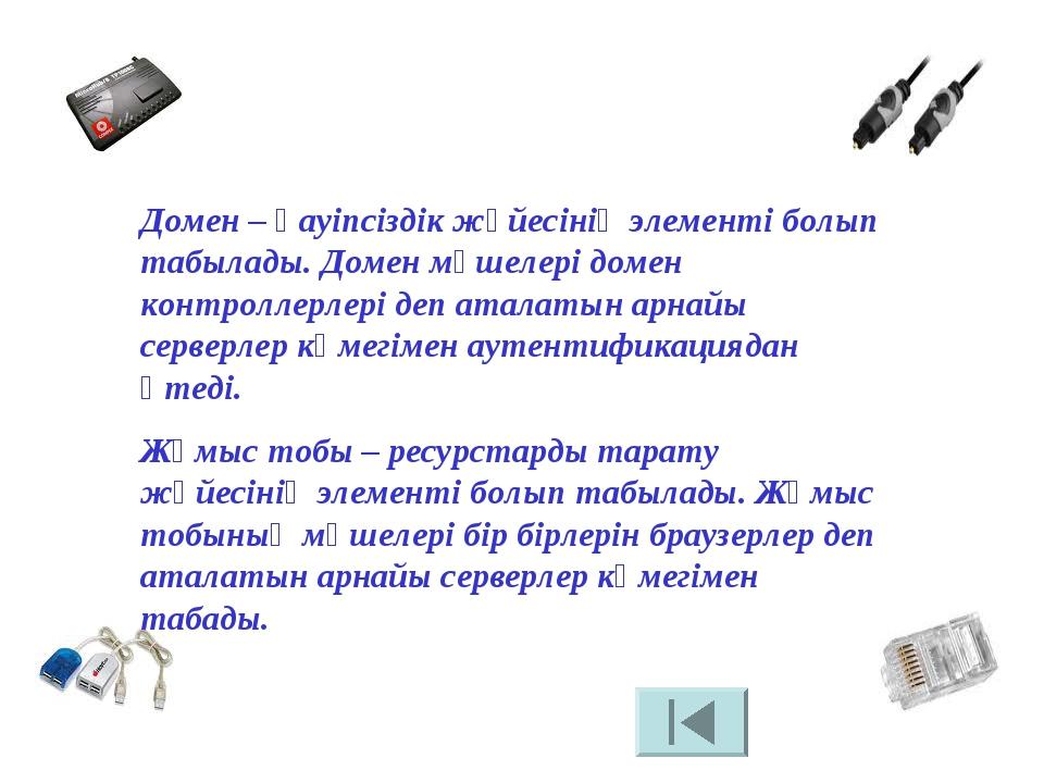 Домен – қауіпсіздік жүйесінің элементі болып табылады. Домен мүшелері домен...