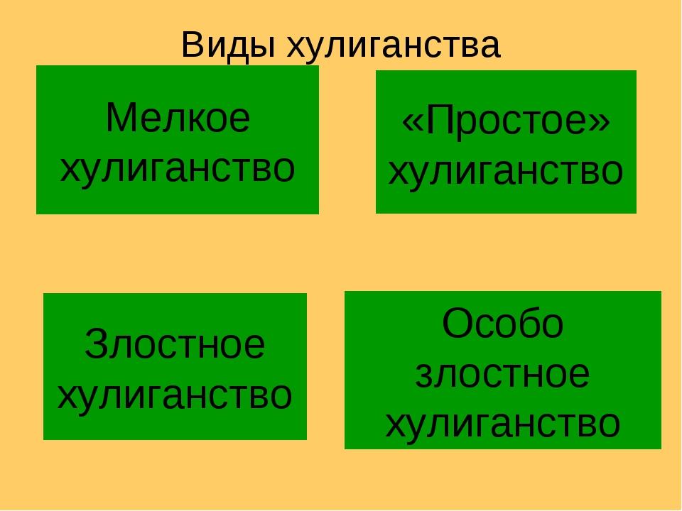 Особо злостное хулиганство Злостное хулиганство «Простое» хулиганство Мелкое...
