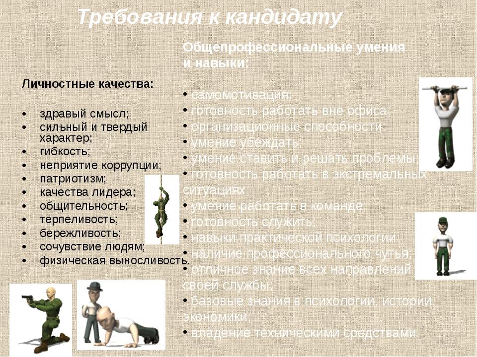 Личностные качества: здравый смысл; сильный и твердый характер; гибкость; не...