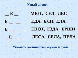 Узнай слово. __ Е __ Е __ __ Е __ __ __ __Е __ __ МЕЛ , СЕЛ, ЛЕС ЕДА, ЕЛИ, ЕЛ