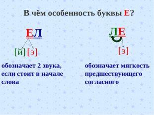 В чём особенность буквы Е? ЕЛ [й] [э] обозначает 2 звука, если стоит в начале