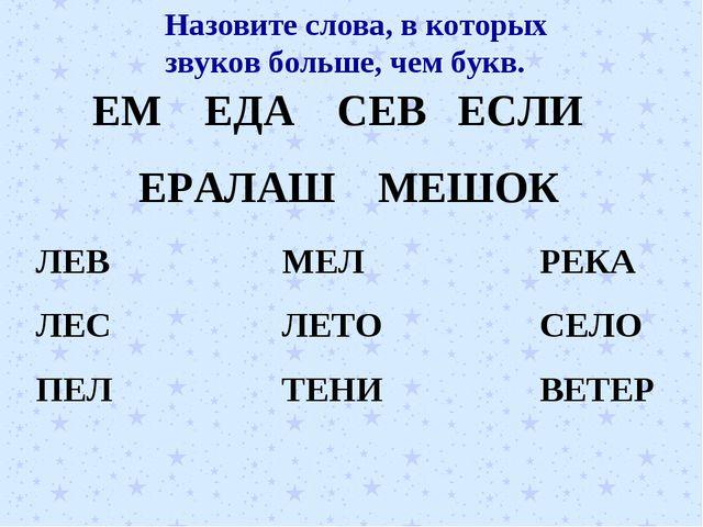 ЕМ ЕДА СЕВ ЕСЛИ ЕРАЛАШ МЕШОК ЛЕВ ЛЕС ПЕЛ МЕЛ ЛЕТО ТЕНИ РЕКА СЕЛО ВЕТЕР Назови...
