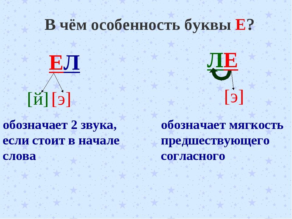 В чём особенность буквы Е? ЕЛ [й] [э] обозначает 2 звука, если стоит в начале...