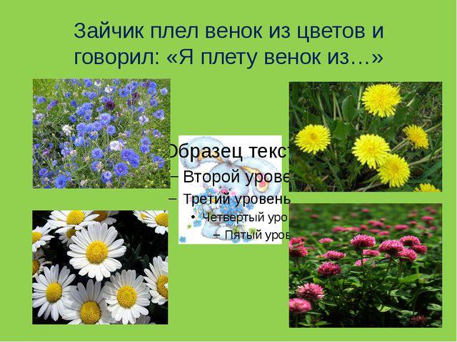 Зайчик плел венок из цветов и говорил: «Я плету венок из…»