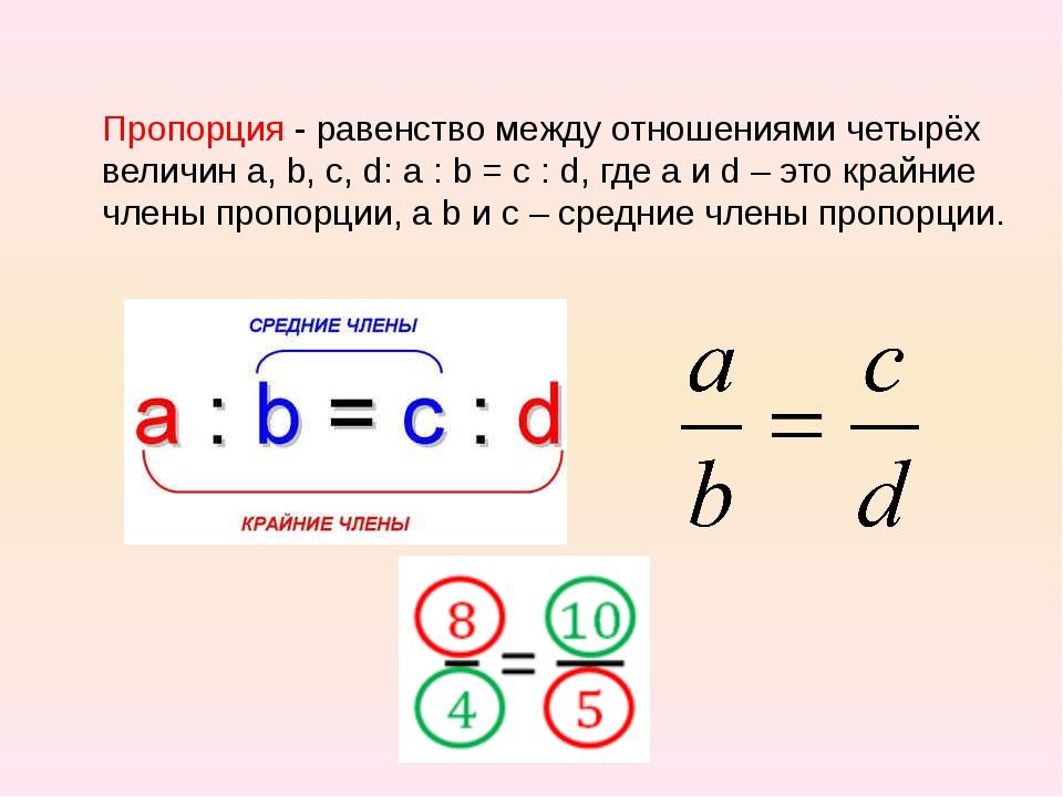 Пропорция - равенство между отношениями четырёх величин а, b, c, d: a : b = c...