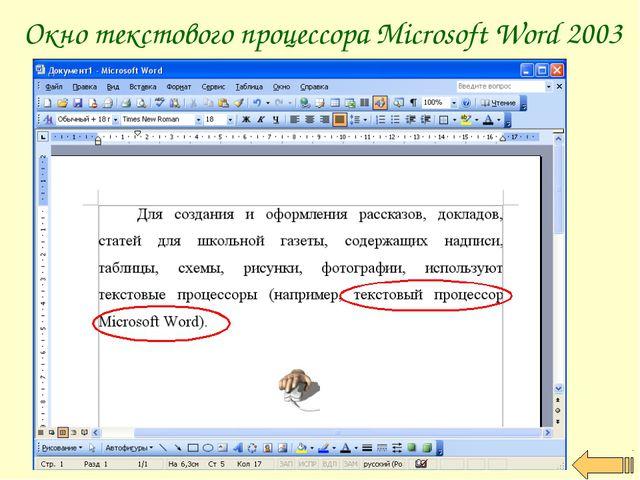 Окно текстового процессора Microsoft Word 2003
