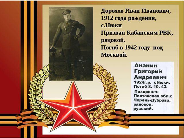 Дорохов Иван Иванович, 1912 года рождения, с.Нюки Призван Кабанским РВК, рядо...