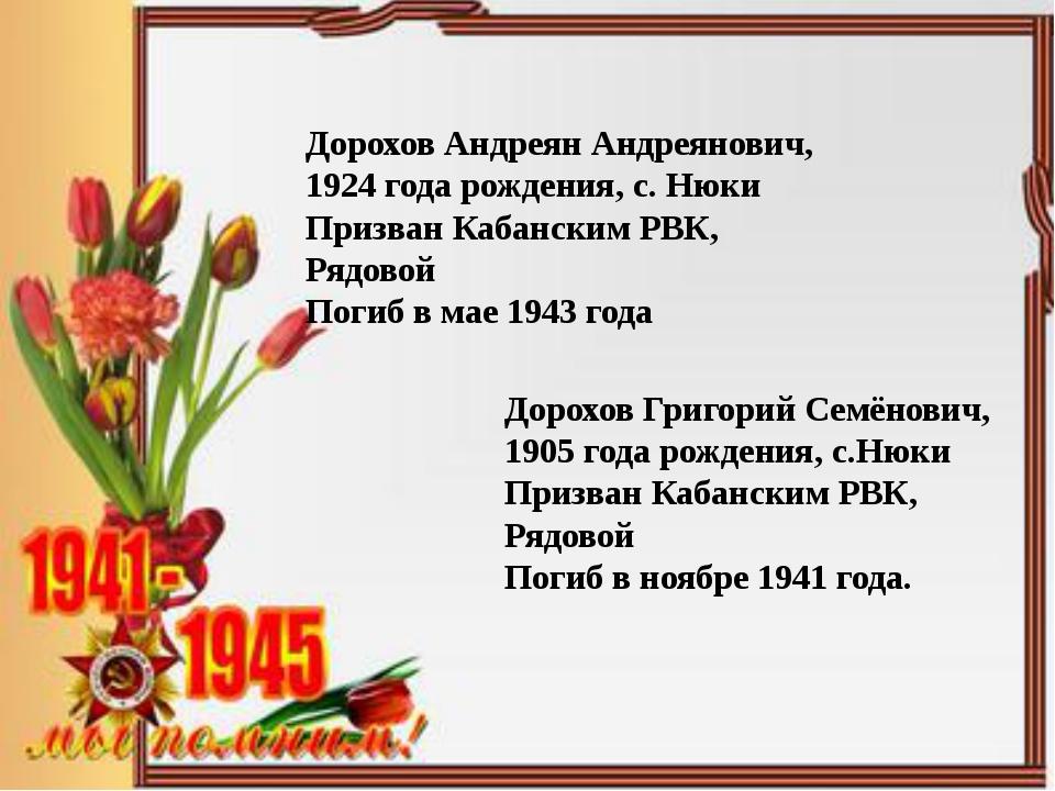 Дорохов Андреян Андреянович, 1924 года рождения, с. Нюки Призван Кабанским РВ...