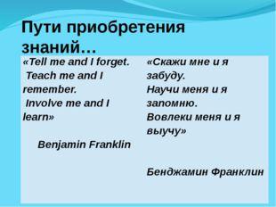 Пути приобретения знаний… «Tell me and I forget. Teach me and I remember. Inv