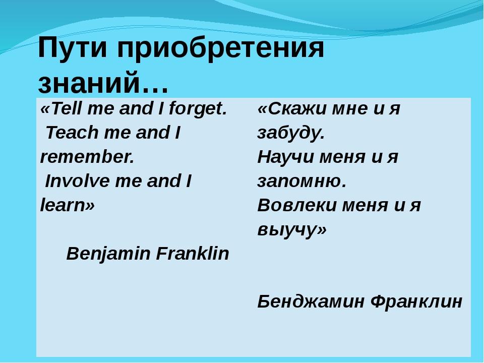 Пути приобретения знаний… «Tell me and I forget. Teach me and I remember. Inv...
