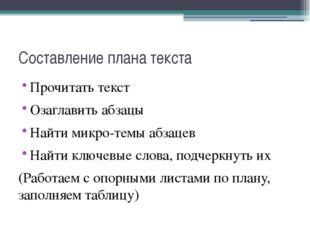 Составление плана текста Прочитать текст Озаглавить абзацы Найти микро-темы а