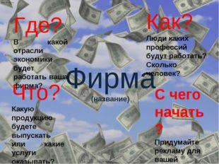 Фирма (название) Где? В какой отрасли экономики будет работать ваша фирма? Чт