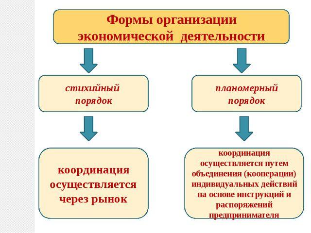 Формы организации экономической деятельности стихийный порядок планомерный по...