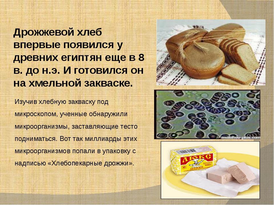 Дрожжевой хлеб впервые появился у древних египтян еще в 8 в. до н.э. И готови...