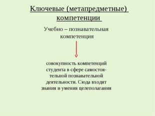 Ключевые (метапредметные) компетенции Учебно – познавательная компетенция сов