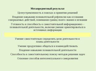 Метапредметный результат Целеустремленность в поисках и принятии решений Влад