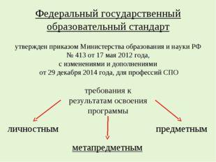 Федеральный государственный образовательный стандарт утвержден приказом Минис