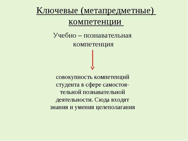 Ключевые (метапредметные) компетенции Учебно – познавательная компетенция сов...