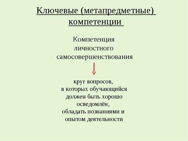 Ключевые (метапредметные) компетенции круг вопросов, в которых обучающийся до...