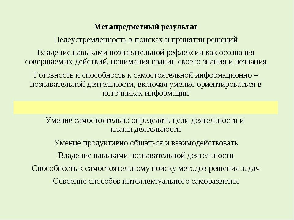 Метапредметный результат Целеустремленность в поисках и принятии решений Влад...
