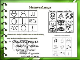 Мнемотаблицы (схематичное изображение основных этапов сказки) к русской народ