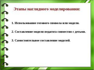1. Использование готового символа или модели. 2. Составление модели педагога