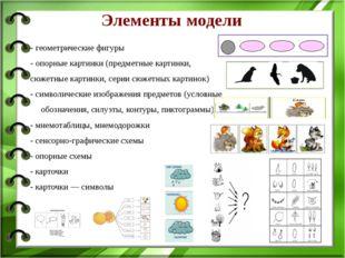 Элементы модели - геометрические фигуры - опорные картинки (предметные карти