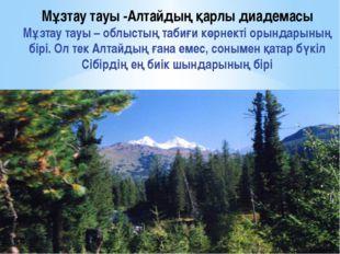 Мұзтау тауы -Алтайдың қарлы диадемасы Мұзтау тауы – облыстың табиғи көрнекті