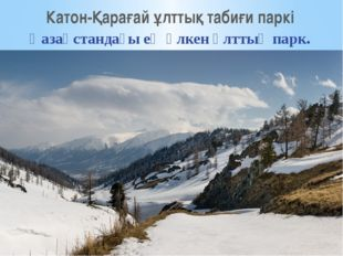 Катон-Қарағай ұлттық табиғи паркі Қазақстандағы ең үлкен ұлттық парк.